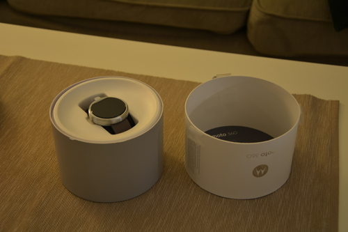 Moto 360 in its opened packaging
