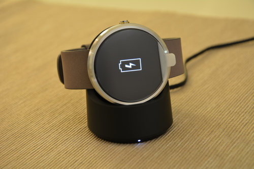 Moto 360 on charger